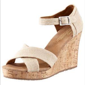 TOMS Cork Wedge Sandals 7